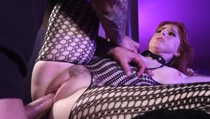 Busty and big butt Penny Pax wearing fishnets blowjob
