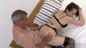 Babe fucks with big cock daddy