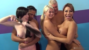Laela Pryce in company with Ava Devine rough doggy