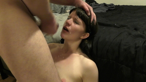 Pigtails wife throat fucking