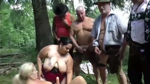 Hairy & piercing mature blowjobs outdoors