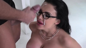 Anal sex along with large tits pornstar in glasses