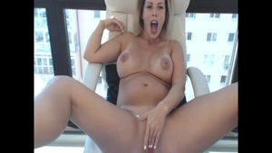 Solo very hot and pregnant blonde fingering