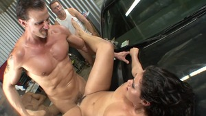 Pierced large boobs brunette Charley Chase rough gangbang