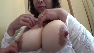 Bukkake in company with large tits japanese housewife