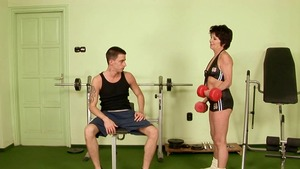 Nailed hard in the gym alongside hairy granny