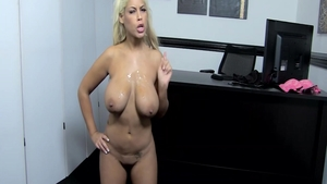 Busty Bridgette B blowjobs in office
