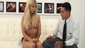 Deepthroat at castings amongst hawt blonde Madelyn Monroe