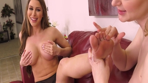 Bunny Colby in company with Brianna Rose foot fetish