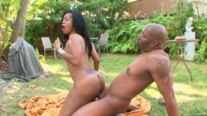 Thick and busty BBW in shorts fetish interracial fuck outdoors