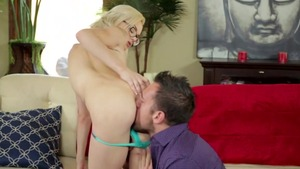 Small tits Elsa Jean receiving facial cum loads in jeans