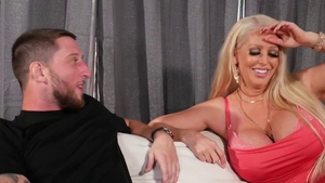 Super hot blonde throat fuck on the couch HD