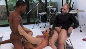 Big boobs Cali Carter threesome in her lingerie