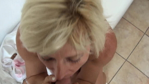 Saggy tits blonde sucking dick at casting in HD