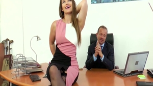 Raw sex next to large tits blonde Dani Daniels in office in HD