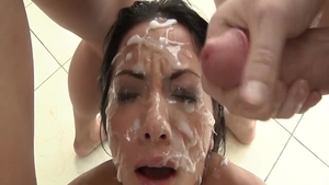 Big tits pornstar gangbang in the shower