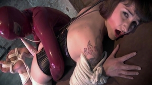 Lesbian mother in latex humping