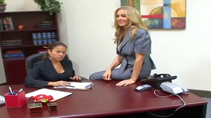 Large tits star interracial banging in office in HD