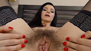 Sex in company with hairy brunette
