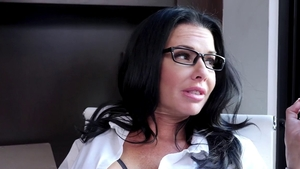 Brunette Veronica Avluv wearing glasses blowjob on the couch