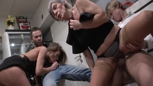 Big ass granny has a thing for group sex