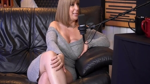 Shaved Sara Jay pussy fucking during interview