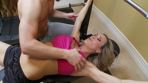 Muscle queen Brandi Love drool cock sucking at the gym