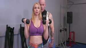 Big boobs Sarah Vandella pussy eating in the gym