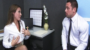 Callie Calypso hardcore sucking dick in office