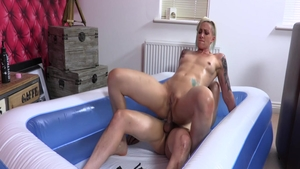 Big boobs Blonde Angel pussy fuck in the pool