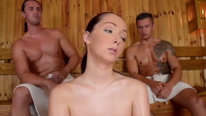 Group sex in company with european brunette Lucie Wilde