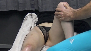 Famous exhibitionist hidden massage in the bed