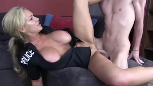 Raw sex in company with big boobs blonde