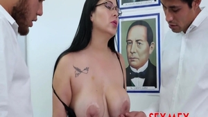 Ramming hard along with fake tits mexican teacher