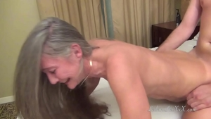 Long hair MILF helps with sex scene