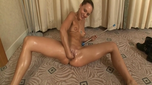 Solo tanned & very sexy supermodel masturbating