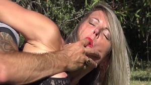 Rough french blowjob outdoors
