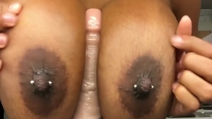 Large tits ebony MILF homemade sex with toys on web-cam