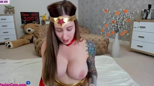 Solo beautiful & big boobs female cosplay fingering on web-cam