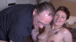 Young french brunette flashing