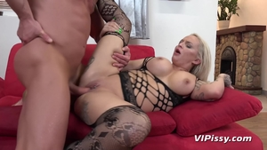Cumshot among large tits slut in sexy stockings in HD