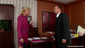 Blonde hair got her pussy pounded in office in HD