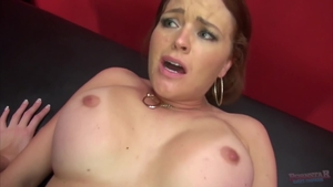 Brunette Stacy Sweet in stockings POV playing with toys