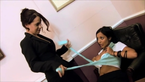Incredible brunette sex with toys in office HD