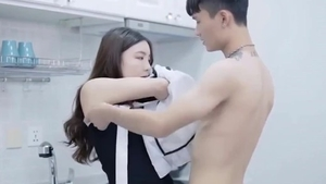 Cute korean girl gets a good fucking in the kitchen