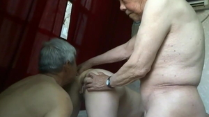 Group sex accompanied by saggy tits asian amateur