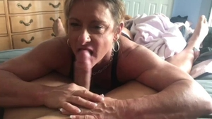 Muscle babe POV throat fucking swallow in HD