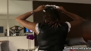 Maid goes wild on cock