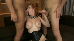 Creampied in the company of long haired cougar