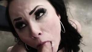 Brunette feels the need for nailing